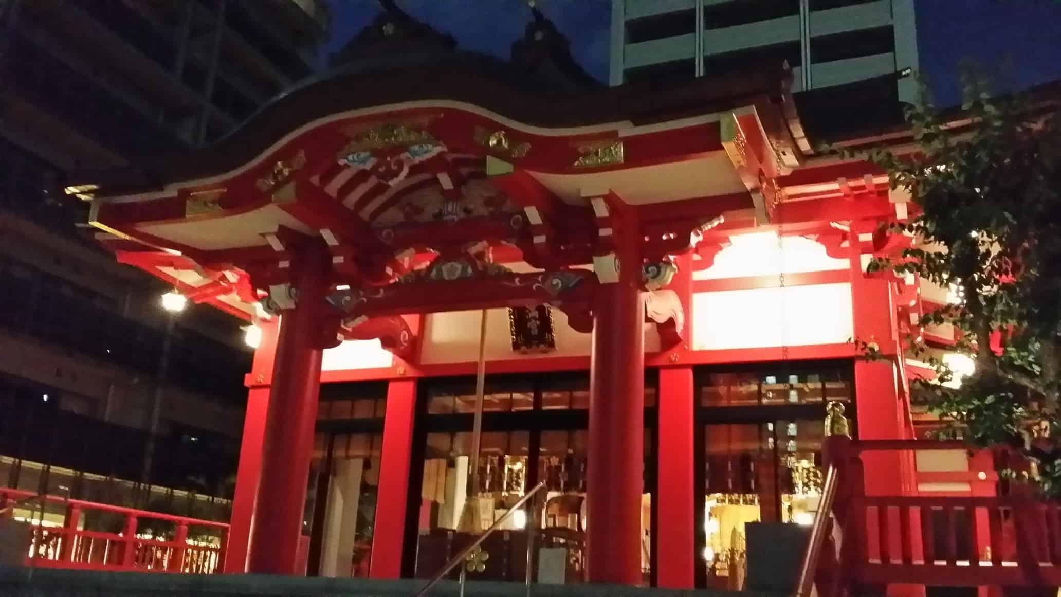 Shrine at night in Tokyo