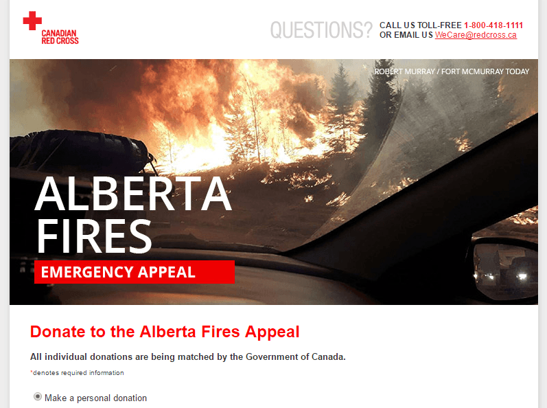 Redcross Donation to Fort McMurray Alberta Fires