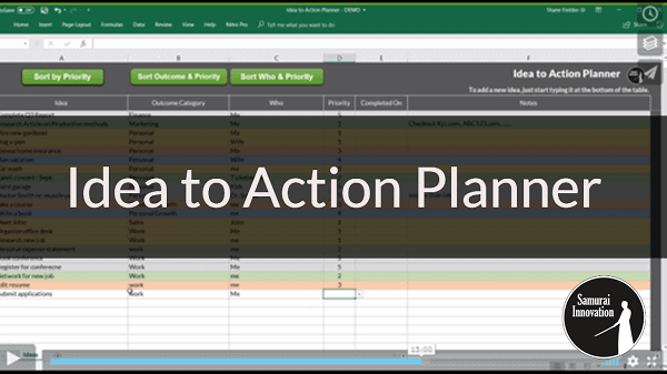 Idea to Action Planner by Samurai Innovation - Shane Fielder
